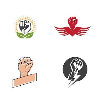 Ręka silny szablon wektor ikona ilustracja projekt