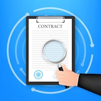 Ręka sprawdzania umowy z lupą przed podpisaniem. ilustracja wektorowa