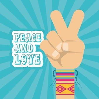 Ręka symbol pokoju i miłość symbol hipis koncepcji