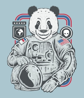 Ręka szkic rysunku panda astronauta