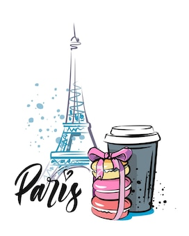 Ręka szkic wieży eiffla ze słodkim. szkic paryża.