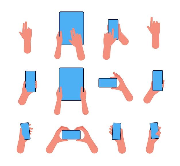 Ręka telefonu. trzymaj smartfony i tablety, wskazując na płaskie dłonie z ekranem dotykowym
