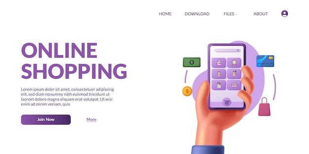 Ręka trzyma 3d ładny inteligentny telefon komórkowy ze sklepem aplikacji e-commerce. zakupy online ilustracja koncepcja z ikoną 3d.