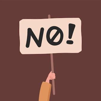 Ręka trzyma baner bez słowa wektorowego płaskiej ilustracji protestującego