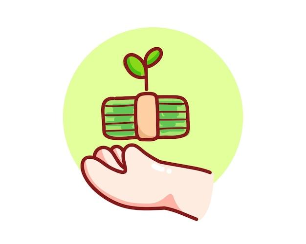Ręka trzyma bank pieniędzy z rosnącym drzewem ręcznie rysowana ilustracja kreskówka