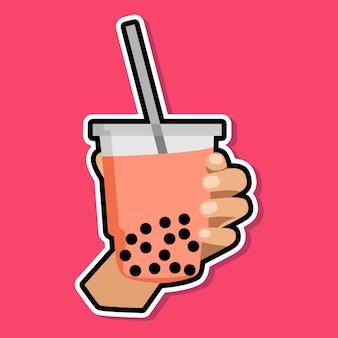Ręka trzyma bańkę mleczną herbatę kreskówka projekt