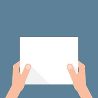 Ręka trzyma białą kartkę papieru. pojęcie ogłoszenia, wyświetlania, powiadomienia o kontrakcie, ogłoszenia, pocztówki, gestu, bez listy, tagu, afiszu. płaski nowoczesny projekt ilustracji wektorowych na ciemnym tle