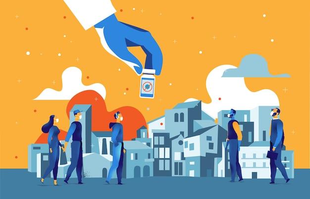 Ręka trzyma butelkę ze szczepionką, ludzie noszą maski w mieście
