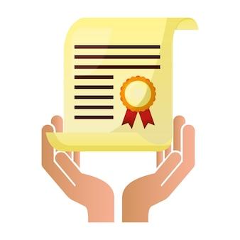 Ręka trzyma certyfikat szkoły nagroda wektor ilustracja