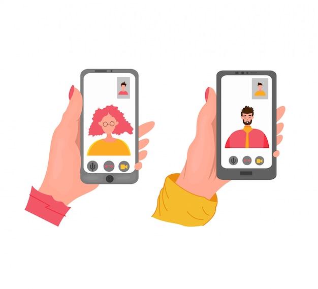 Ręka trzyma czarny telefon. zbliżenie: kobieta o czacie wideo z mężczyzną. płaska ilustracja.