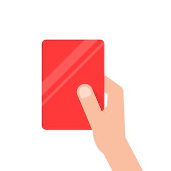 Ręka trzyma czerwoną kartę piłki nożnej. koncepcja arbitra, usunięcie boiska piłkarskiego, mentora, łamanie zasad, prezentacja. płaski trend nowoczesny design ilustracji wektorowych na białym tle