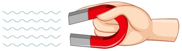 Ręka trzyma czerwony magnes podkowy na białym tle