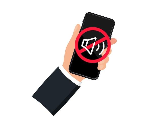 Ręka trzyma dźwięk smartfona wyłączony. ikona urządzenia. brak telefonu. brak znaku dźwiękowego dla telefonu komórkowego. wyłącz głośność lub znak trybu wyciszenia dla smartfona. proszę wyciszyć telefon komórkowy, strefę ciszy smartfona