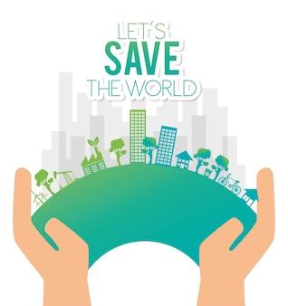 Ręka trzyma eco city uratować świat