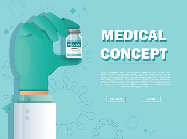 Ręka trzyma fiolkę szczepionki. koncepcja szczepień.