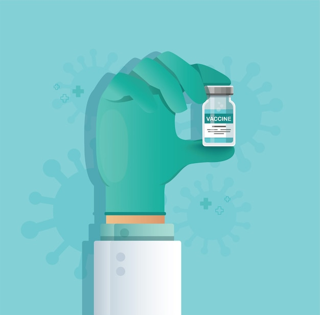 Ręka trzyma fiolkę szczepionki. koncepcja szczepień
