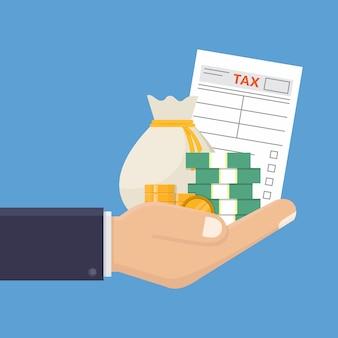 Ręka trzyma formularz podatkowy i pieniądze płaska konstrukcja ilustracji wektorowych