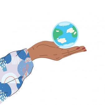 Ręka trzyma glob ziemi. palm ze światem. ekologiczne, oszczędzaj planetę, koncepcja dnia ziemi. płaskie styl nowoczesna ilustracja na białym tle