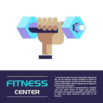 Ręka trzyma hantle. centrum fitness. ilustracja wektorowa. pojedynczo na białym tle.