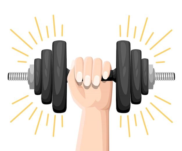Ręka trzyma hantle zestaw normalnych i zdeformowanych zgiętych hantli na białym tle. sprzęt sportowy, podnoszenie ciężarów, ćwiczenia, siła i koncepcja siłowni. styl. ilustracja,