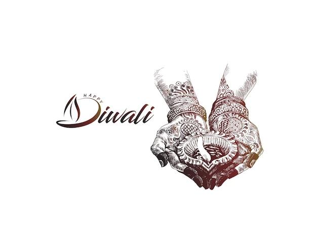 Ręka trzyma indyjska lampa naftowa - diya, festiwal diwali, ręcznie rysowane szkic wektor ilustracja.