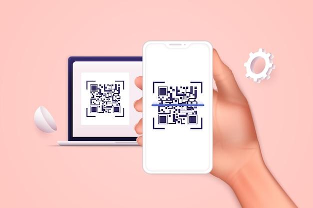 Ręka trzyma inteligentny telefon komórkowy z zeskanować kod qr. skanowanie kodu qr i płatność online, przelew. technologia elektroniczna, cyfrowa, kod kreskowy. ilustracja wektorowa.