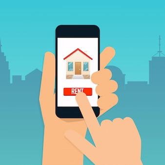Ręka trzyma inteligentny telefon z aplikacją wynajmu mieszkań. oferta zakupu domu, wynajem nieruchomości. nowoczesna koncepcja ilustracji.