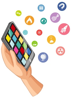 Ręka trzyma inteligentny telefon z ikona edukacji na białym tle