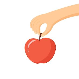 Ręka trzyma jabłko. prosta ilustracja wektorowa.