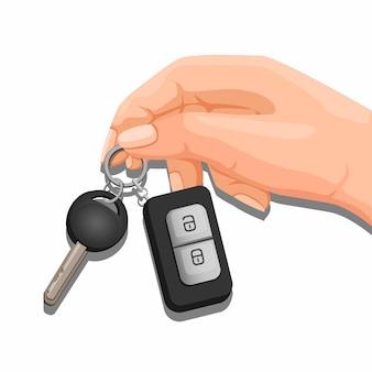 Ręka trzyma klucz ilustracja kreskówka samochód