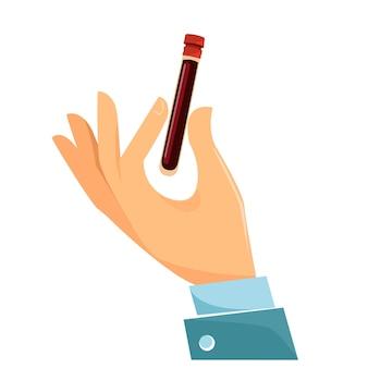Ręka trzyma kolbę z krwią koncepcja badania analiza testowanie lub szczepienie