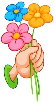 Ręka trzyma kolorowych kwiaty na białym tle
