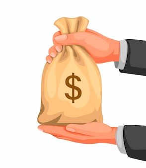 Ręka trzyma koncepcja worek pieniędzy w ilustracja kreskówka na białym tle w tle