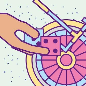 Ręka trzyma kości i kasyno maszyny do ruletki