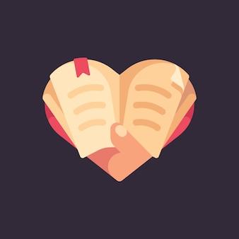 Ręka trzyma książkę w kształcie serca