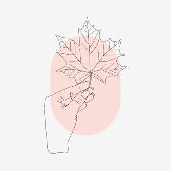 Ręka trzyma liść klonu w stylu sztuki linii 1