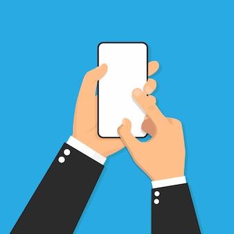 Ręka trzyma mądrze telefonu projekta ikony płaską ilustrację