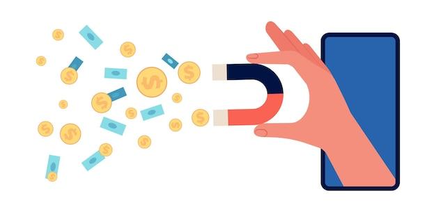 Ręka trzyma magnes. atrakcyjność inwestycyjna, marketing społeczny przyciągają pieniądze. udane zarządzanie reklamą lub cyfrowym, ilustracja wektorowa zysku projektu online. magnes biznesowy przyciąga finanse