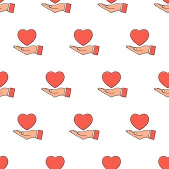 Ręka trzyma miłość serce wzór na białym tle. ilustracja motywu miłości