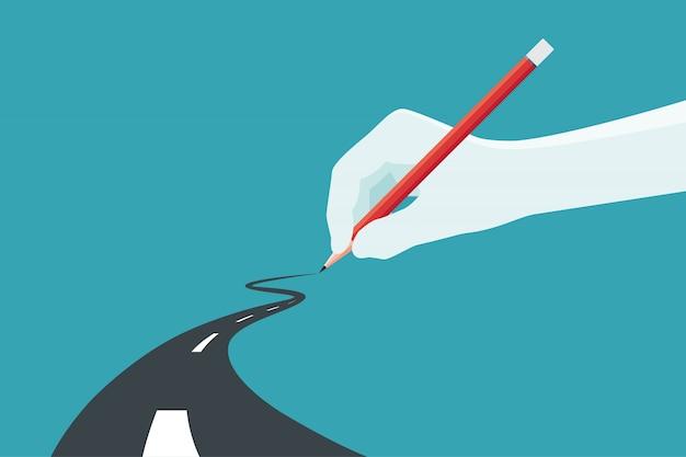 Ręka trzyma ołówek. koncepcja drogi do sukcesu w biznesie w wybierz własną. ilustracji wektorowych.