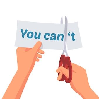 Ręka trzyma papier możesz motywacji koncepcji