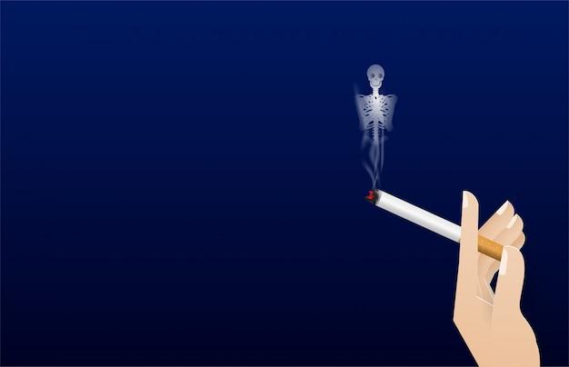 Ręka trzyma papierosa. dym do kości wektor ilustracja koncepcji świata dzień palenia. dzień bez tytoniu