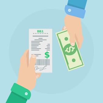 Ręka trzyma paragon i pieniądze. zapłać rachunek gotówką