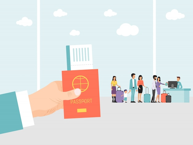 Ręka trzyma paszport i bilet na lotnisko. ludzie na lotnisku z bagażem stoją w kolejce podczas lotu. ręka mężczyzny z paszportem i kartę pokładową w podróży