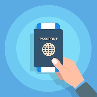 Ręka trzyma paszport. podróże i turystyka oraz koncepcja osobistej identyfikacji. ilustracji wektorowych.