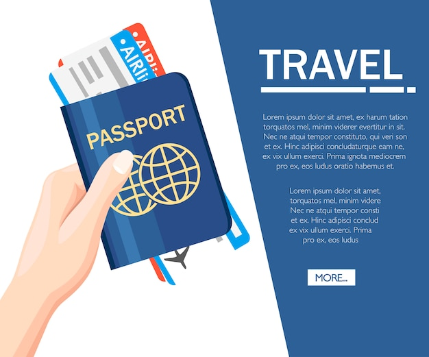 Ręka trzyma paszport z ikoną bilety. koncepcja podróży i turystyki. dokumenty podróżne. międzynarodowy paszport. koncepcja strony internetowej lub reklamy