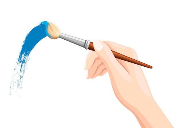 Ręka trzyma pędzel. malowanie pędzlem na białym tle. niebieska farba. płaska ilustracja na białym tle.