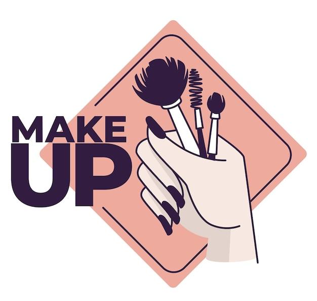 Ręka trzyma pędzle do makijażu. ikona na białym tle kobiety z aplikatorami pudrów i tuszów do rzęs. logotyp dla salonu kosmetycznego lub warsztatu artystycznego lub kursów zawodowych. wektor w stylu płaskiej