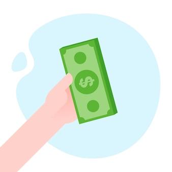 Ręka trzyma pieniądze banknotów płaskie wektor ilustracja. koncepcja płatności.