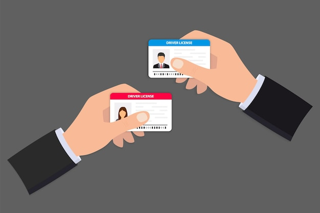 Ręka trzyma prawo jazdy. dowód osobisty. ikona karty identyfikacyjnej. szablon karty prawa jazdy mężczyzny i kobiety. ikona prawa jazdy. mężczyzna pokazujący prawo jazdy, weryfikację tożsamości, dane osobowe.